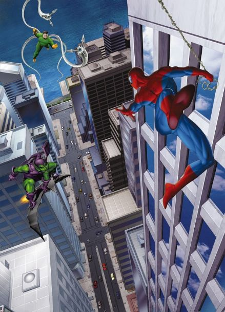 Spider-man and Villais kids wall mural
